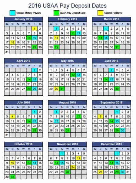 2016 USAA Military Pay Deposit Dates - With Printables - KateHorrell
