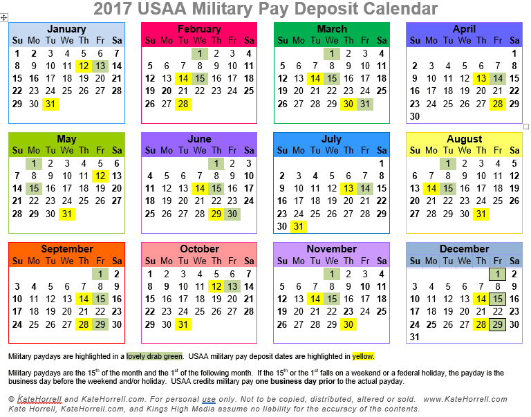 2017 USAA Military Pay Deposit Dates - With Printables - KateHorrell